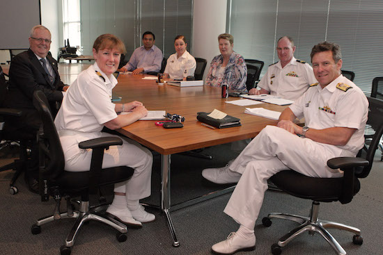 The Director of General Navy People, Commodore Peter Laver (left) with members of the 'Keeping Watch' Grants Committee in Russell Offices, Canberra.